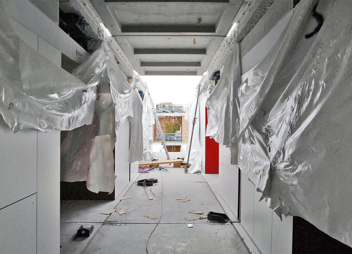 Interior view of the installation of the modular system (bedrooms). Residence for Seniors and Extension of CAP Marià Fortuny (Reus)