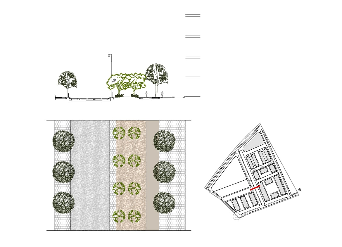 Section of the proposed central promenade. Urban Plan 'Sector 04 - Els Antígons' (Cambrils)
